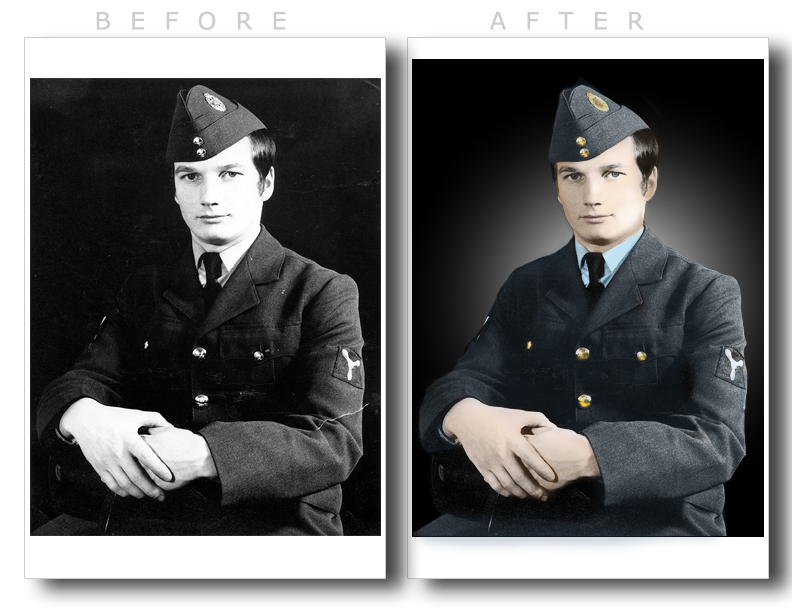 Retouched photograph of airman